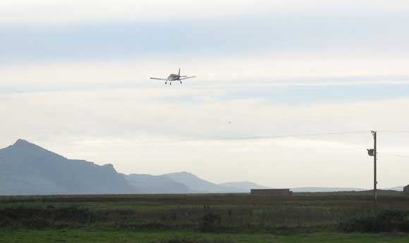 An aeroplane over Dinlle Moor - October 2006