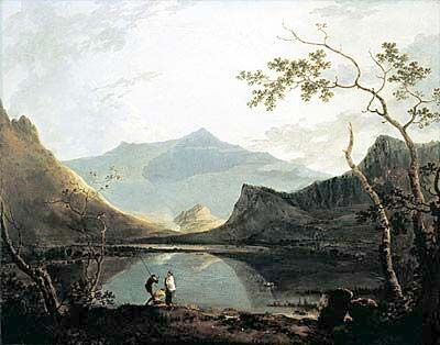 The famous picture of Dyffryn Nantlle painted by Richard Wilson, showing Llyn Baladeulyn between Craig y Bera and Y Garn with Snowdon in the background